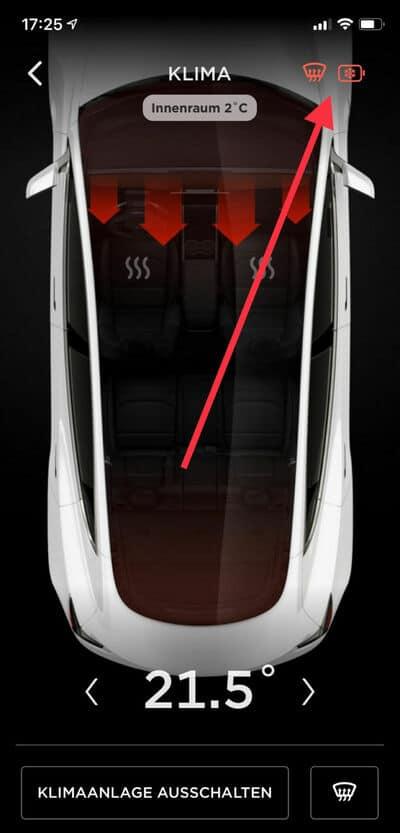 Tesla App Batterieheizung