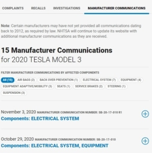 Tesla Ersatzteile Service Bulletin