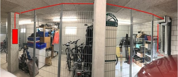 Tesla Wallbox Kabelführung Garage