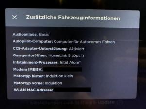 Tesla zusätzliche Fahrzeuginformationen