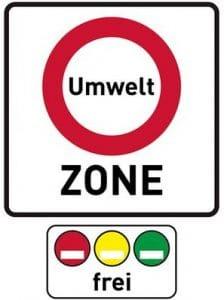 Schild für Umweltzone