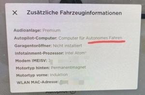 Tesla zusätzliche Fahrzeuginformationen Autopilot