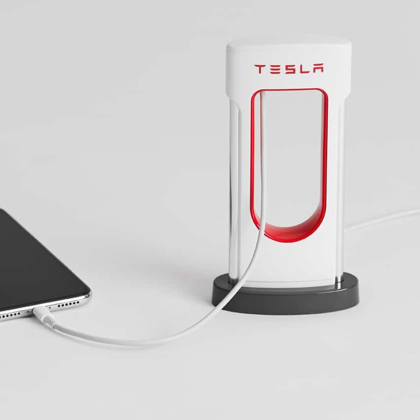 Tesla Desktop Supercharger for cell phones