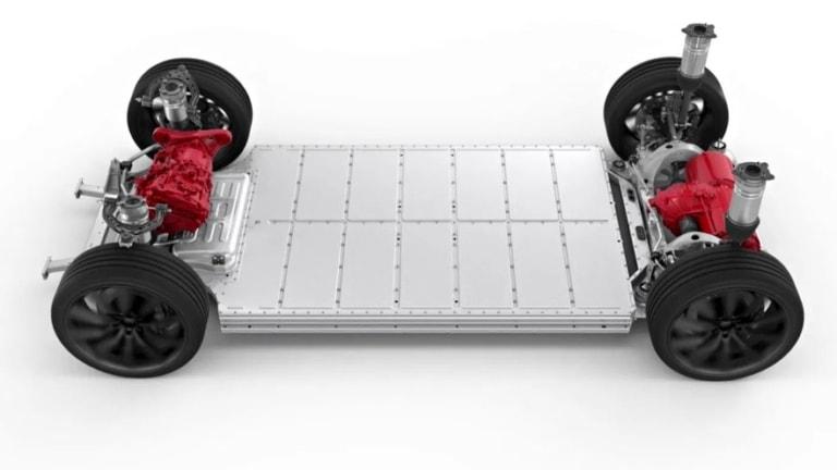 Tesla Model S Skateboard Anstriebsstrang pre-Plaid